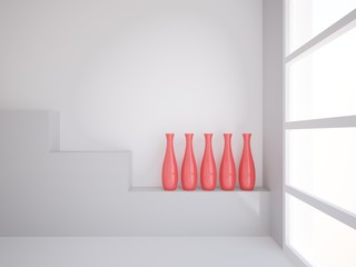 empty room with red vases