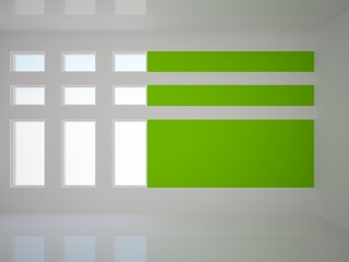 white empty interior with green wall