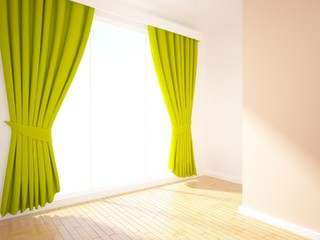empty interior with green curtains