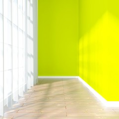 green empty interior with curtain