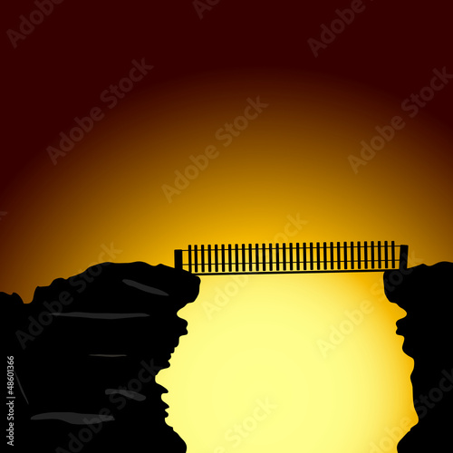 bridge on the cliff vector illustration