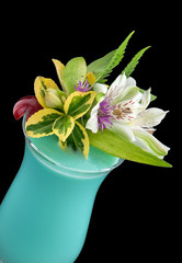 Alcohol drink, coctail with flower, isolated
