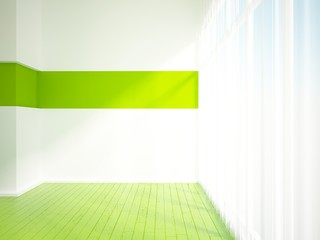 empty interior with green floor and curtain