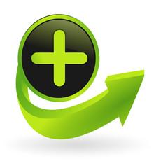 bouton positif flêche verte