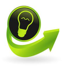 bouton ampoule flêche verte