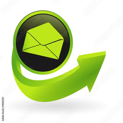 bouton messagerie flêche verte