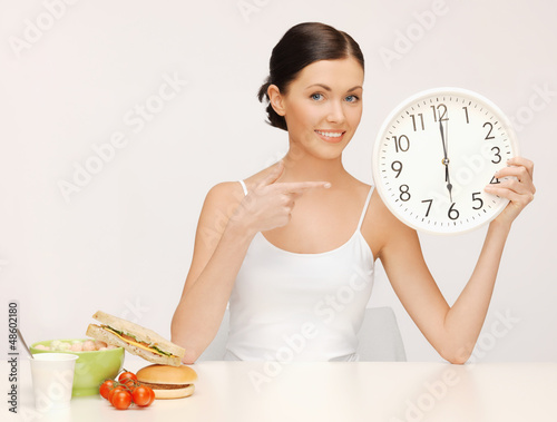 woman with big clock