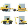 Set of simple icon of heavy machines.