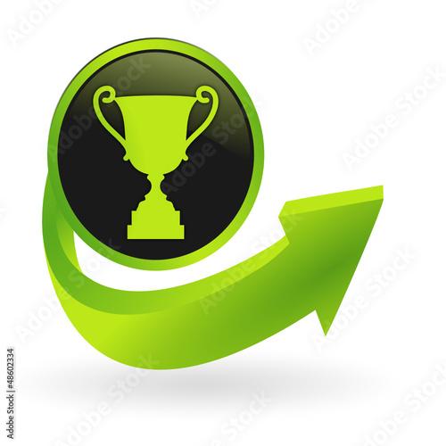 bouton trophée flêche verte