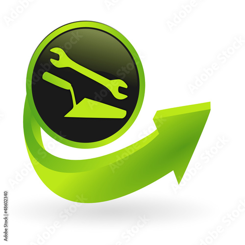 bouton travaux  flêche verte