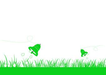 Frise herbe basse - Cloches oeufs qui tombent - Pâques