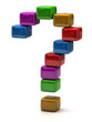 Question mark made of colorful cubes