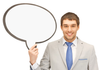 businessman with blank text bubble