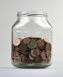 Money jar with european money