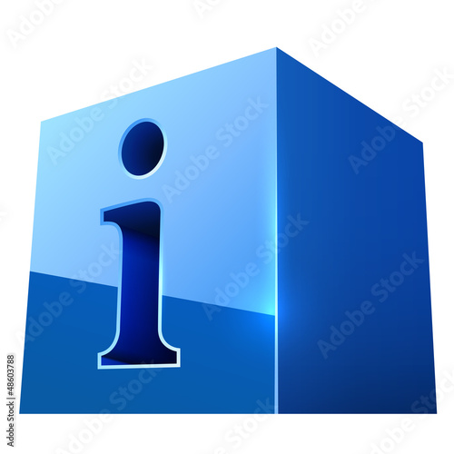 Blue glossy info icon isolated on white