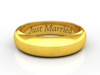 Engraved golden wedding ring , Just married