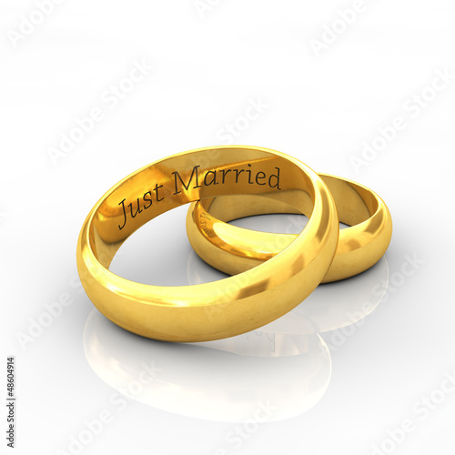 Engraved golden wedding rings , Just married