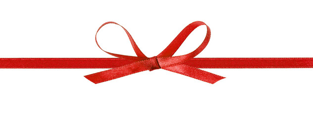 thin red bow with horizontal ribbon