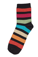 Black sock in colorful stripes