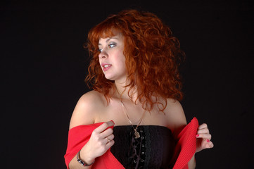 beauty sexy woman on black