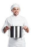 positive chef with pan pot isolated poster