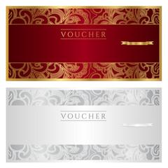 Voucher / coupon. Floral pattern