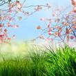 Frohe Ostern: Frühlings-Hintergrund mit Kirschblüten