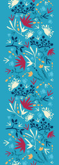 Vector painted abstract flowers and plants vertical seamless