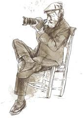 Man behind the digital camera. (Drawing into vector.)