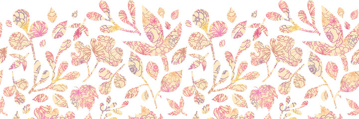 Vector Textured pastel Leaves Horizontal Seamless Pattern