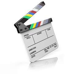 Hollywood Clapper board isolated on white