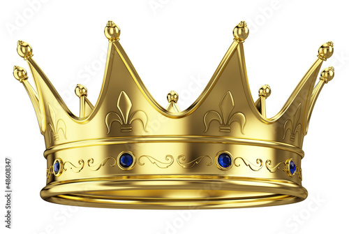 Leinwanddruck Bild Gold crown isolated on white background