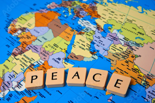 Poster Wereldkaart world peace message