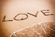 The inscription on the sand LOVE for Valentines Day.