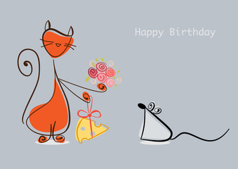 Happy Birthday. Cat congratulates mouse with flowers and cheesee
