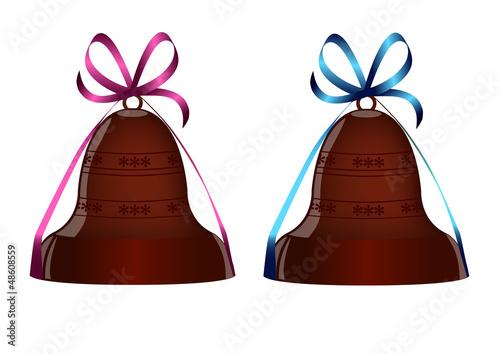 2 cloches en chocolat avec ruban rose | bleu - Pâques