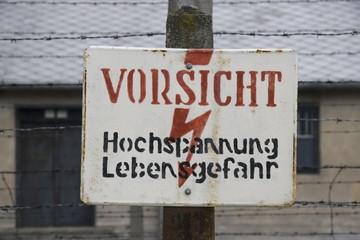 warning sign Auschwitz