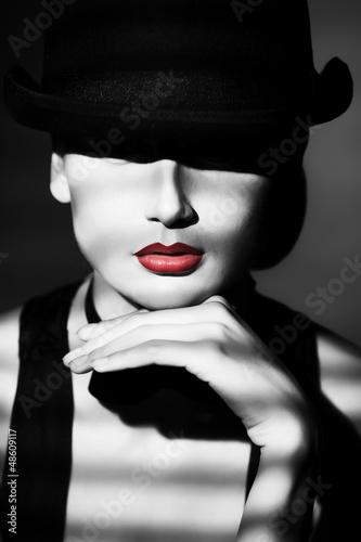 Leinwandbilder,frau,lippen,rot,jahrgang