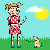 Girl training obedience with well behaved puppy poster