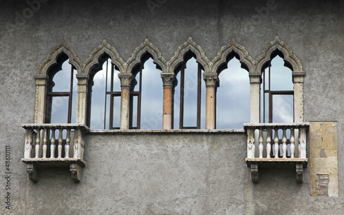 Old balconies in Verona, Italy