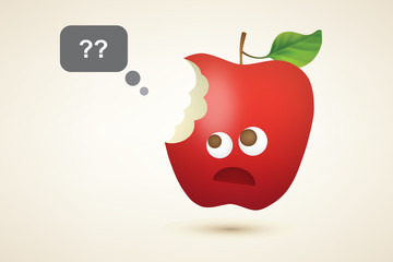 Funny red bitten apple