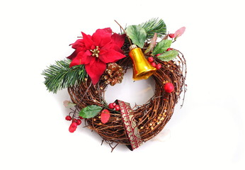 Advent wreath on a white background close up