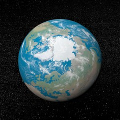 Arctica on earth - 3D render