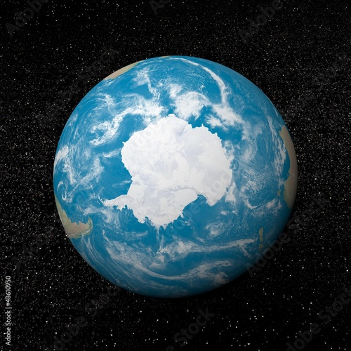 Antarctica on earth - 3D render