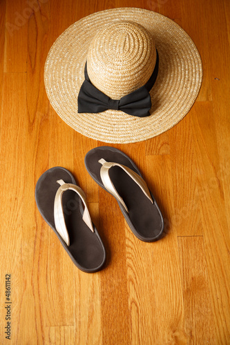 Beach Sandals and Straw Hat on Deck