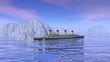 Titanic boat sinking - 3D render