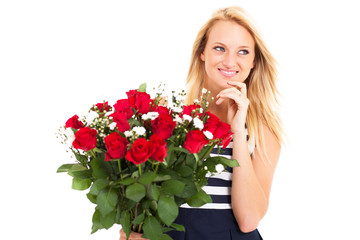 woman received bunch of roses from secret admirer