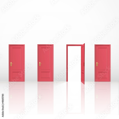 Four red doors, one open and the others closed.