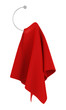 red towel on hanger isolated on white background