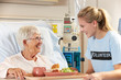 Teenage Volunteer Serving Senior Female Patient Meal In Hospital
